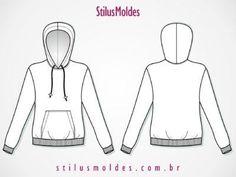 molde de blusa de moletom com capuz feminina tamanho P
