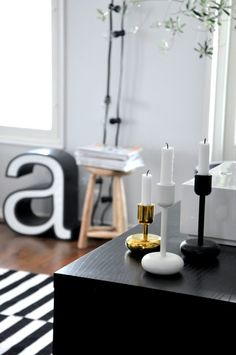 Via Selma | Ikea Stockholm Rand Rug | Granit String Lights | Iittala Candle Holders | Black and White