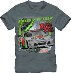 Dale Earnhardt Jr Chase Authentics Diet Mountain Dew Grey Tee by RacingGifts. $26.50. These top quality licensed shirts are constructed of a cotton/synth blend that is made for comfort and durability. Made with bright, vibrant color graphics in a patented process that's made to last for years...wash after wash. An ideal gift idea for any nascar fan....order one for yourself and a friend!