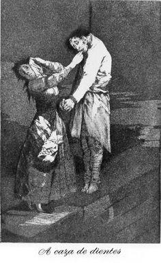 Francisco de Goya - A Caza de dientes. Los Caprichos no. 12.