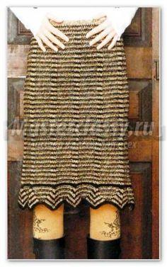 прямая меланжевая юбка с зигзагообразной оборкой связанная спицами схема и описание