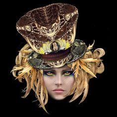"Top Hat Masque - 16"" x 16"" Digital Painting by E.Trostli"