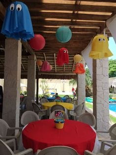 PacMan Party Birthday Party Ideas Photo 14 of 17 Catch My Party Manly Party Decorations, Birthday Party Decorations, Party Themes, Party Ideas, Table Decorations, 80s Birthday Parties, Birthday Party Tables, Man Birthday, Festa Do Pac Man