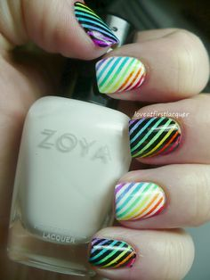 Rainbow striped Pride nails with tutorial.