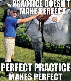 """""""Practice doesn't make perfect. Perfect practice makes perfect."""" -George H. Morris"""