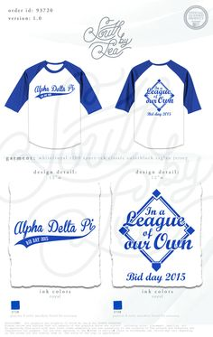 Alpha Delta Pi | ADPi | A League of Our Own | A League of Their Own | Alpha Delta Pi Bid Day | South by Sea | Sorority Shirts | Sorority Tanks | Greek Shirts
