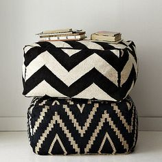 black & white poufs by the style files