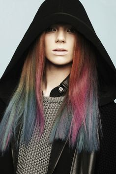 muted rainbow hair