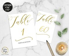 Gold Wedding Table Numbers Printable Table Numbers 1-60