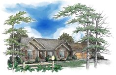 <ul><li>This delightful ranch home plan has a huge vaulted great room and large rear deck.</li><li>The covered rear porch can be screened in by your builder and makes a great spot for outdoor dining.</li><li>The two bedrooms in the front of the home share a hall bath while the master suite has its own bath and two walk-in closets.</li><li>An open floor plan layout allows the people in the kitchen to share the views with the great room and eating nook.</li></ul>