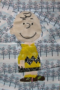 Charlie Brown paper-pieced quilt (pattern linked from the Snoopy quilt, pinned earlier)