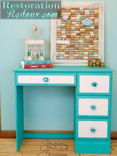 Turquoise Stenciled Child's Desk http://www.restorationredoux.com/?p=5897