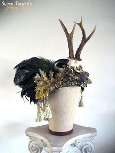 FOREST GODDESS - Enchanting Antler Headdress Ritual Crown by Susan Tooker of Spinning Castle.
