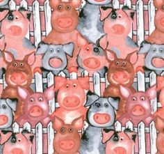 Blank Textiles Novelty Fabric Barnyard Pigs by fabricdesigns, $9.99