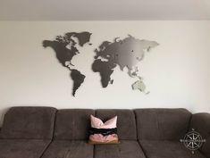 vielen Dank für dieses Wohnbeispiel #worldmap24.de Decoration, Home Decor, Houses, Condo Design, World Wide Map, Wall Prints, Stainless Steel, Living Room, Ad Home