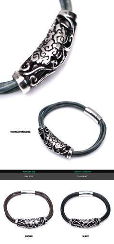 Mens Big Metal Charm Triple Coil Magnetic-Bracelet 310 by Guylook.com