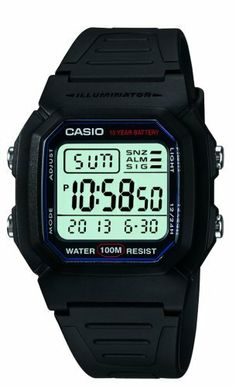 Casio Men's W800H-1AV Classic Digital Sport Watch Casio. Plastic crystal. Water-resistant to 330 feet (100 M). Quartz movement. Resin case; digital-gray dial; day-date-and-month functions. Case diameter: 37 mm