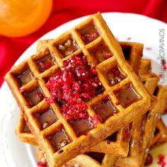 Blueberry Cornbread Waffles with Homemade Blueberry Syrup ...