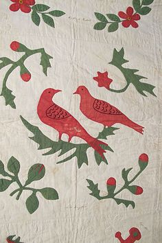 Detail of 1867 Baltimore Album Applique Quilt;  25 Blocks Signed in Ink by Different Ladies, dated, on eBay at Estate Auctions
