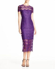 Cynthia Rowley Short Sleeve Illusion Lace Midi Dress