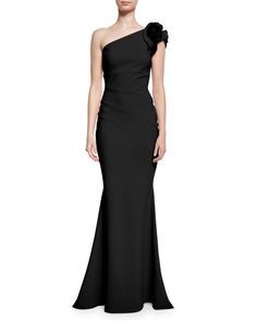 La Petite Robe di Chiara Boni One-Shoulder Ruched Ponte Mermaid Gown, Nero