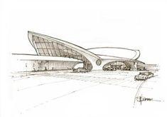 Eero Saarinen's beautiful TWA Flight Center at JFK, opened Organic Architecture, Futuristic Architecture, Architecture Design, Computer Architecture, Airport Design, Architecture Presentation Board, Architecture Concept Drawings, Eero Saarinen, Zaha Hadid Architects