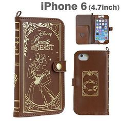 F/S Disney Leather Case Brown for iPhone 6s Old Book Beauty and the Beast Cover #Hamee