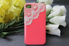 iPhone 4 case, iPhone 4s case, iPhone case, case for iPhone 4 - Light Green, Lace and Pearl, love <3