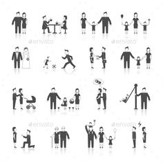 Family Icons Set Black — Vector EPS #icons #women • Available here → https://graphicriver.net/item/family-icons-set-black/9262696?ref=pxcr