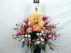 Teddy Bear With Solar lite Child's Memorial Cemetery Flower Vase Arrangement