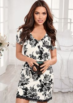 Black and white floral pattern adds a feminine touch to this pj look! Venus short sleeve pajama dress.