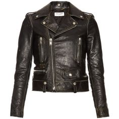 Saint Laurent Destroyed leather jacket (437230 RSD) ❤ liked on Polyvore featuring outerwear, jackets, black, floral leather jacket, floral print leather jacket, genuine leather jackets, logo jackets and yves saint laurent jacket