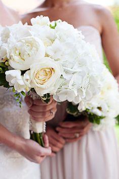 Ivory hydrangea, rose and peony bouquet