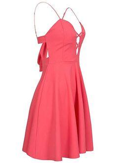 Styleboom Fashion Damen Mini Kleid Brustpads deko Schleife Rückenausschnitt coral pink Styleboom Fashion Kleider | 77onlineshop im Online Shop preiswert kaufen