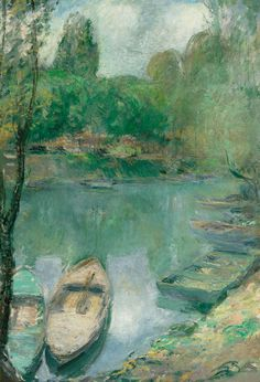 """ John Henry Twachtman (American, 1853-1902), Boats moored on a Pond, c. 1890-1902. Oil on canvas, 72.5 x 50 cm. """