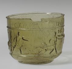 Gladiator cup, ca. 50–80 A.D.; Neronian–Early Flavianic  Roman; Found at Montagnole, southern France  Glass