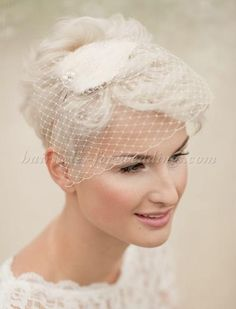 short+wedding+hairstyles+-+short+bridal+hairstyle+with+bridcage+veil+hatshort bridal hairstyle with bridcage veil hat