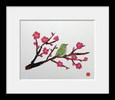 15 % Off Sale: USA Free Shipping, Bird On Plum Tree, Modern Oriental Art, Japanese Art made with Newspaper, Fine Art Printing Company Giclee