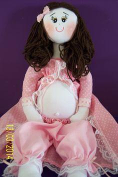 Boneca de pano grávida, linda e meiga! Encomendas por email: livreartes@hotmail.com