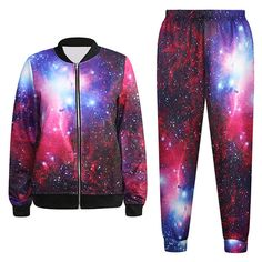 Pink Queen Galaxy Marijuana leaf Printed Zipper Baseball Jacket/Joggers Pant Set ** Find out more about the great item at the image link. Lazy Day Outfits, Cool Outfits, Fashion Outfits, Gym Outfits, Gothic Fashion, Galaxy Outfit, Galaxy Fashion, Queen Fashion, Black Milk Clothing