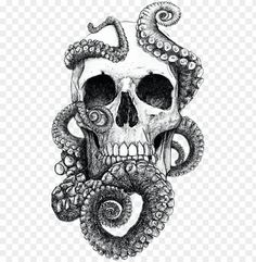 with octopus tentacles. -Skulls: with octopus tentacles. Octopus Drawing, Octopus Tattoo Design, Octopus Tattoos, Tattoo Design Drawings, Skull Tattoos, Leg Tattoos, Body Art Tattoos, Sleeve Tattoos, Cute Octopus Tattoo