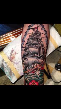 ideas tattoo traditional ship american for 2019 Cool Tattoos For Guys, Dope Tattoos, Trendy Tattoos, Leg Tattoos, Body Art Tattoos, Sleeve Tattoos, Ship Tattoos, Arabic Tattoos, Dragon Tattoos