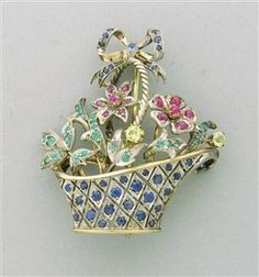 Estate 18k Gold Emerald Sapphire Ruby Flower Basket Brooch Pin