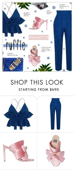 """ADD SOME FLAIR: RUFFLED TOP"" by larissa-takahassi ❤ liked on Polyvore featuring Rasario, FAUSTO PUGLISI, GEDEBE, FaustoPuglisi, lurex, gedebe and ruffledtops"