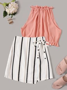 Shop Frill Trim Halter Top With Striped Wrap Skirt at ROMWE, discover more fashion styles online. Cute Comfy Outfits, Cute Girl Outfits, Cute Summer Outfits, Girly Outfits, Pretty Outfits, Stylish Outfits, Stylish Clothes, Girls Fashion Clothes, Teen Fashion Outfits