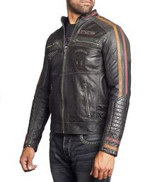 Affliction Built For Speed Indian Skull Wheel Moto Mens Long Sleeve Genuine Snap Collar Leather Jacket in Black - UP TO Limited Edition