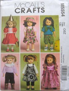 McCalls Patterns M5554 Doll Clothes For 18-Inch Doll, One Size Only,$6.98