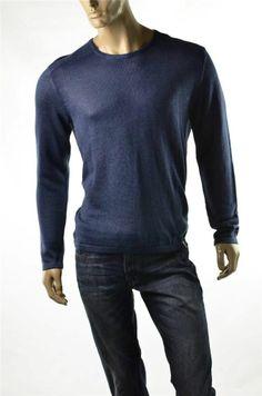Calvin Klein Sweater Mens Blue Sweaters 100% Linen Crew Pullover Jumper Sz L NWT #CalvinKlein #Crewneck