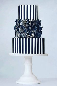 Black And White Wedding Cakes Ideas ❤ See more: http://www.weddingforward.com/black-and-white-wedding-cakes/ #weddings #weddingcakes