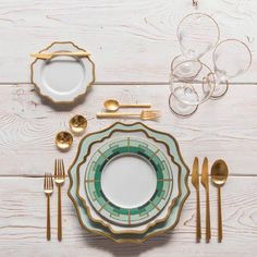 RENT: Anna Weatherley Chargers in Aqua Sky/Gold + Anna Weatherley Dinnerware in White/Gold + Rondo Flatware in Brushed Gold + Chloe Gold Rimmed Stemware + Gold Salt Cellars + Tiny Gold Spoons Dinner Sets, Dinner Table, Dresser La Table, Vase Deco, Aqua, Deco Table, Decoration Table, Event Design, Wedding Table